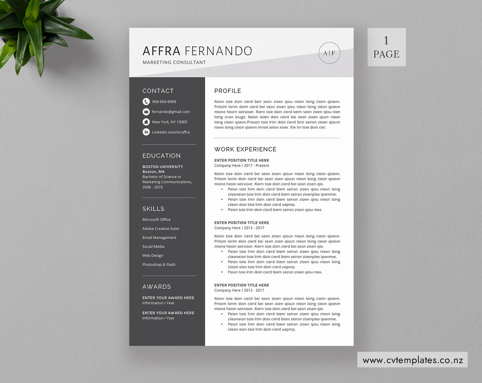 Cv Template For Ms Word Professional Curriculum Vitae Cv Template Design Cover Letter 1 2 And 3 Page Modern Creative Resume Template Instant