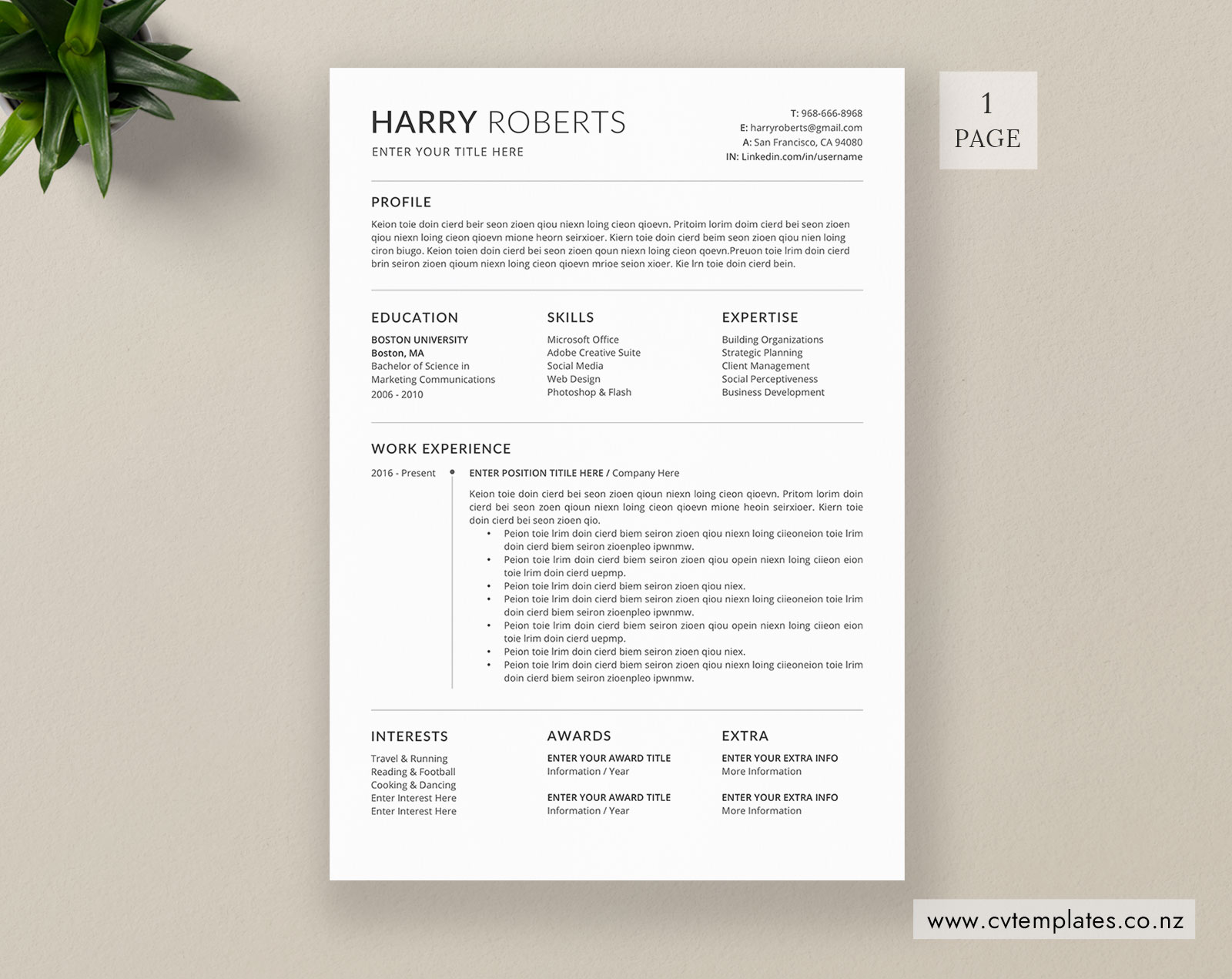 Cv Template For Ms Word Curriculum Vitae Functional Cv Template Cover Letter 1 2 And 3 Page Resume Design Professional Resume Template Instant