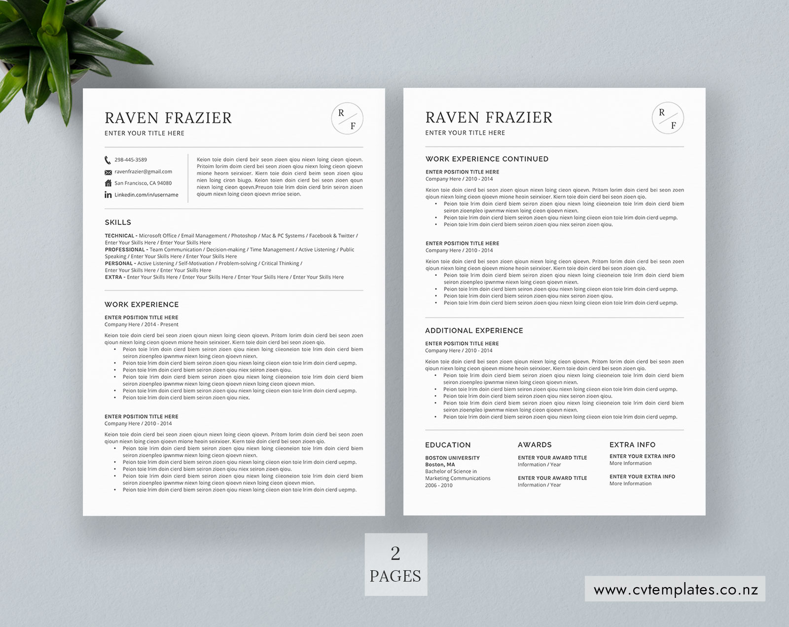 cv template for ms word  curriculum vitae  functional cv template  cover letter  1  2 and 3 page