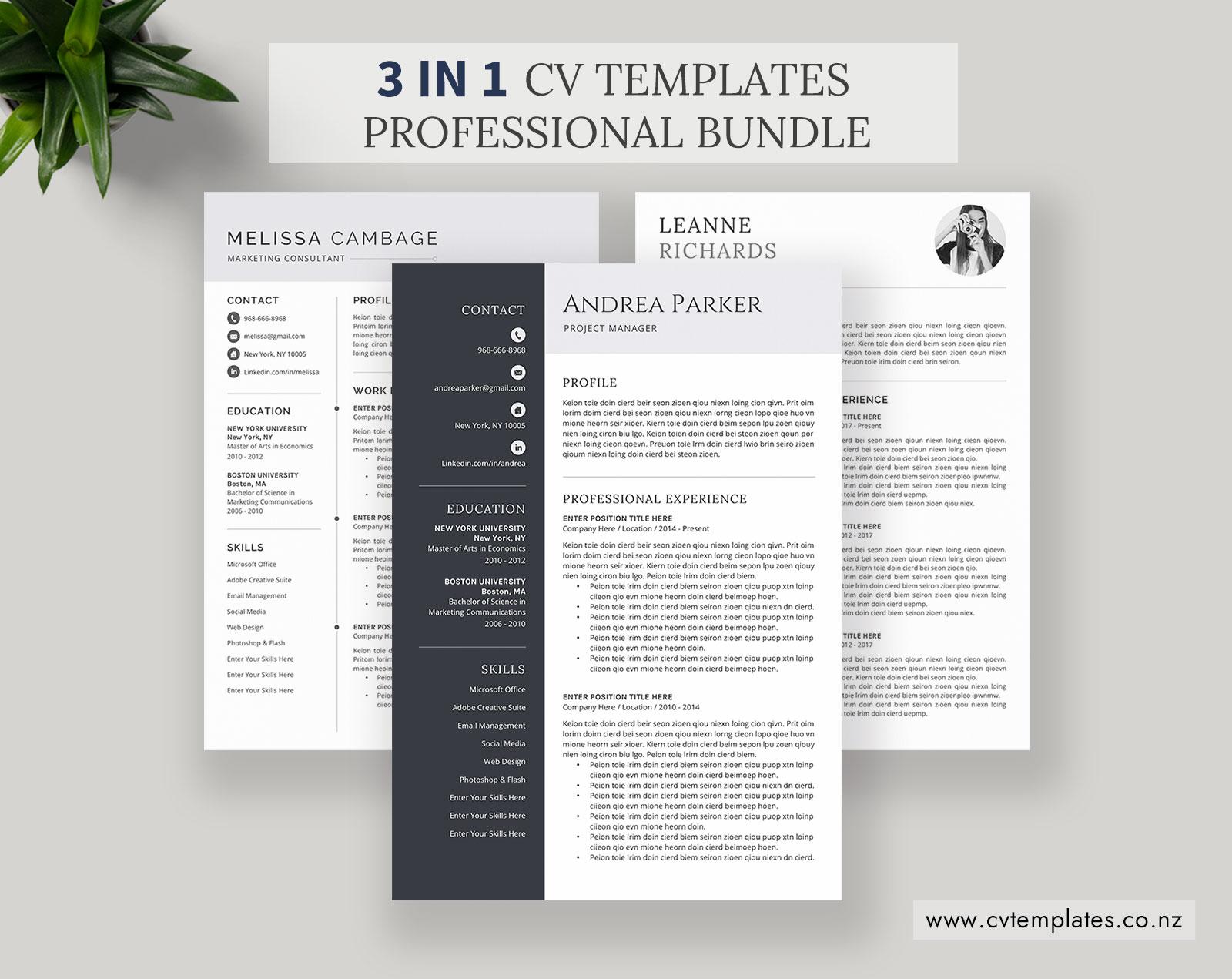 CV Bundle, CV Templates, Professional Curriculum Vitae, MS ...
