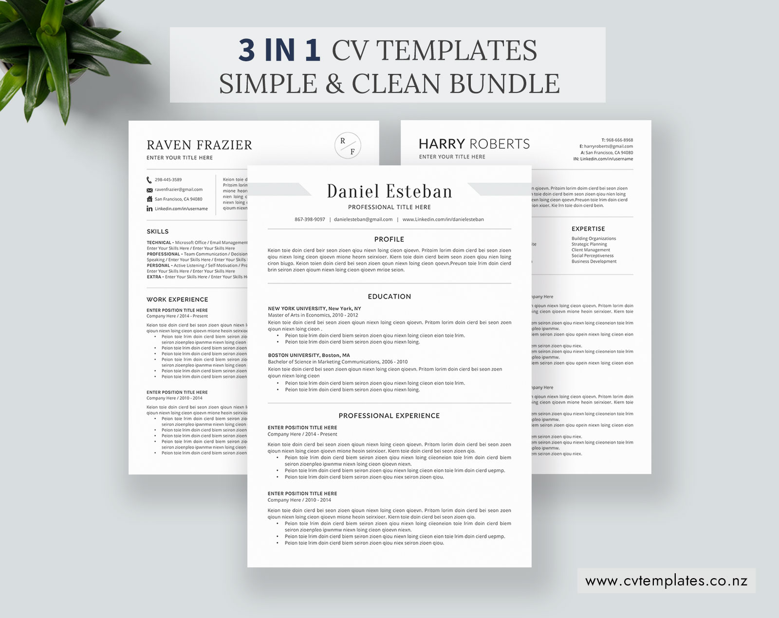 CV Bundle for MS Word, CV Templates, Minimalist Curriculum Vitae, Cover  Letter, 1-3 Page, Professional Resume, Functional Resume, Student Resume,  ...