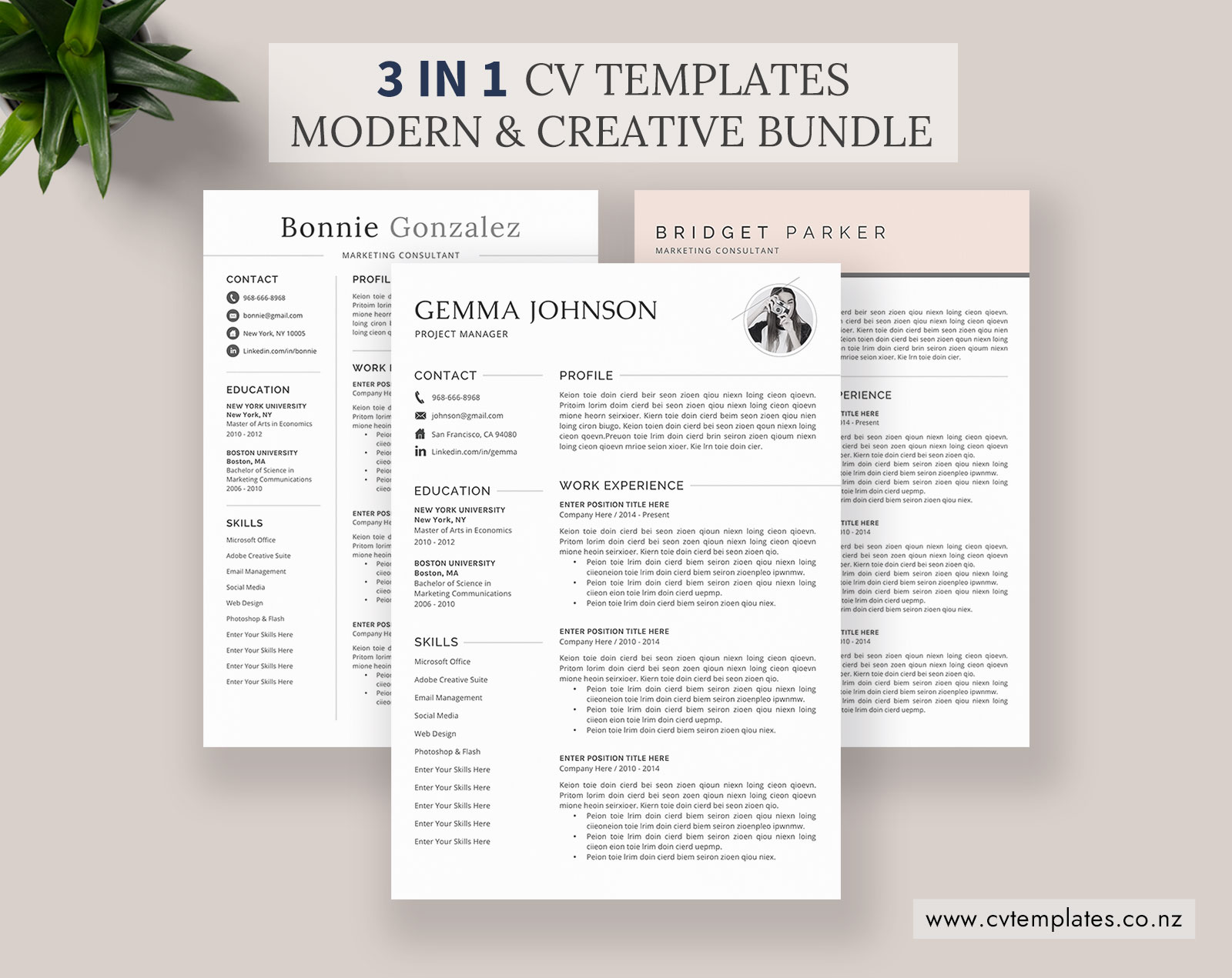 CV Bundle, CV Templates, Professional Curriculum Vitae, MS Word CV  Template, Minimalist CV Format, Cover Letter, Modern & Creative Resume,  Instant ...