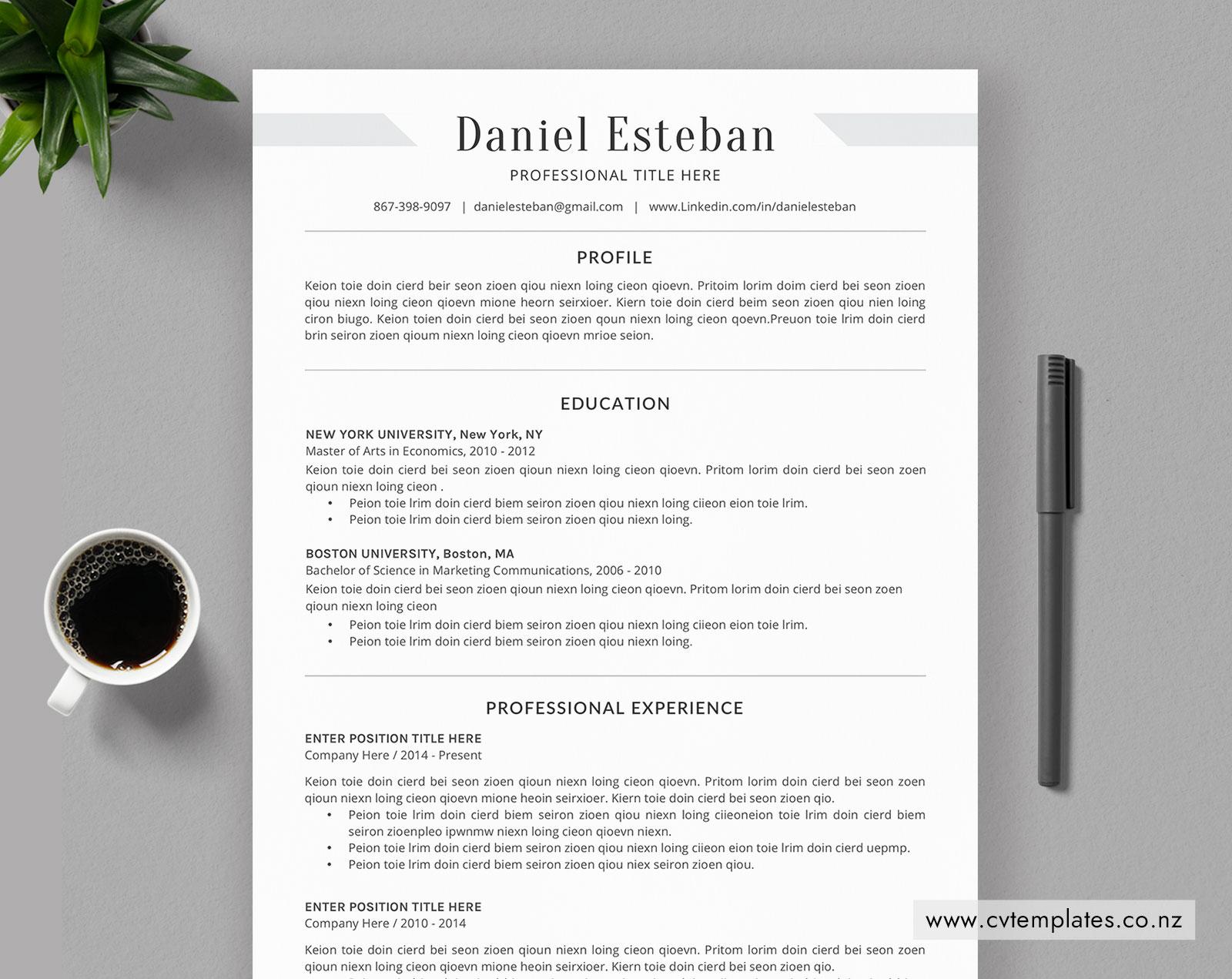 Professional CV Template, Curriculum Vitae, Minimalist CV Template, MS  Word, Cover Letter, Simple Resume, Graduate Resume, Student Resume, Instant  ...