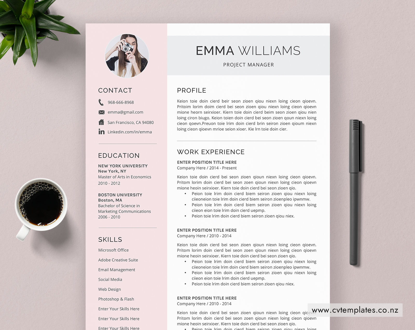 CV Template for MS Word, Minimalist Curriculum Vitae, Professional CV  Template, Cover Letter, Modern & Creative Resume Template Design, Instant  ...