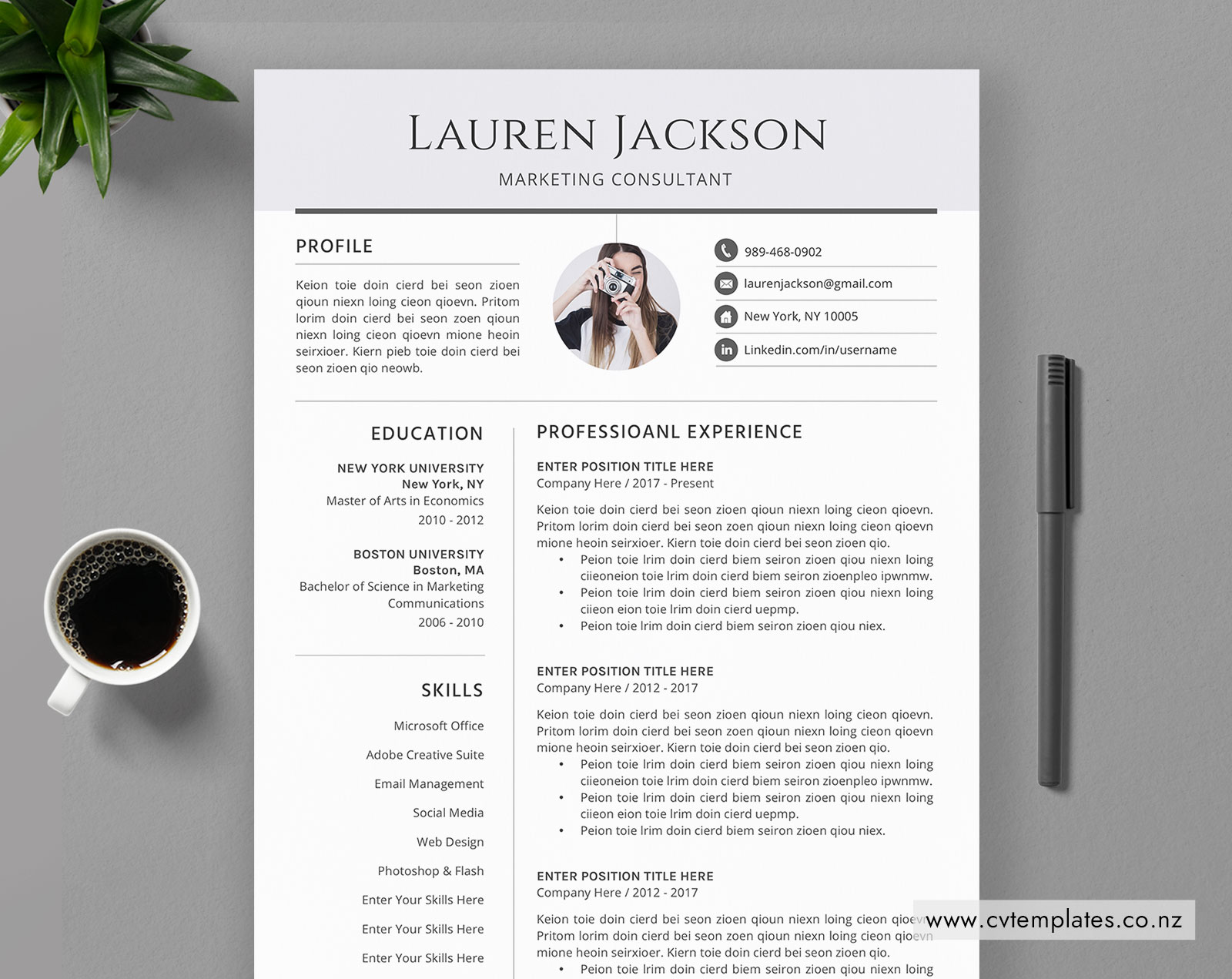 CV Template for MS Word, Professional Curriculum Vitae, CV Template Design,  Cover Letter, 1, 2 and 3 Page, Modern & Creative Resume Template, Instant  ...