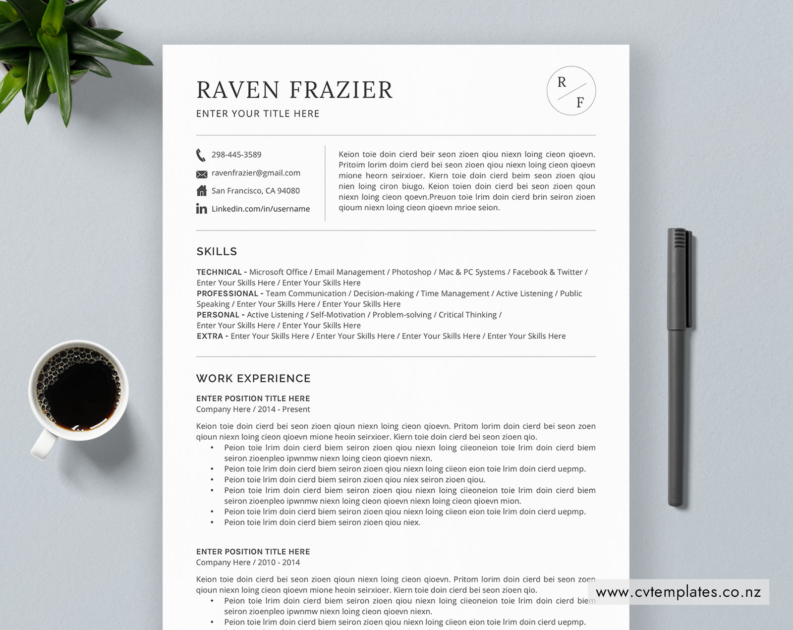 cv template for ms word  curriculum vitae  functional cv