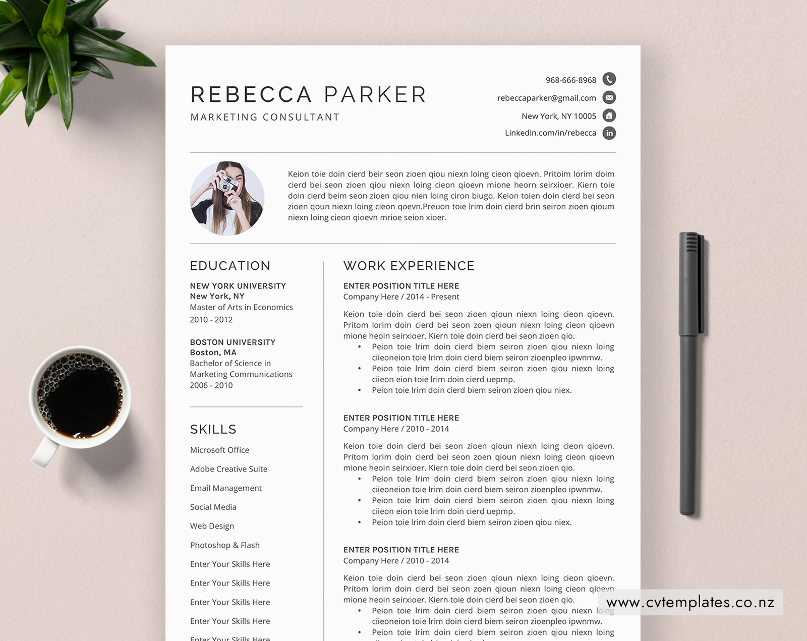 cv template for word  minimalist curriculum vitae  professional cv template  cover letter  best