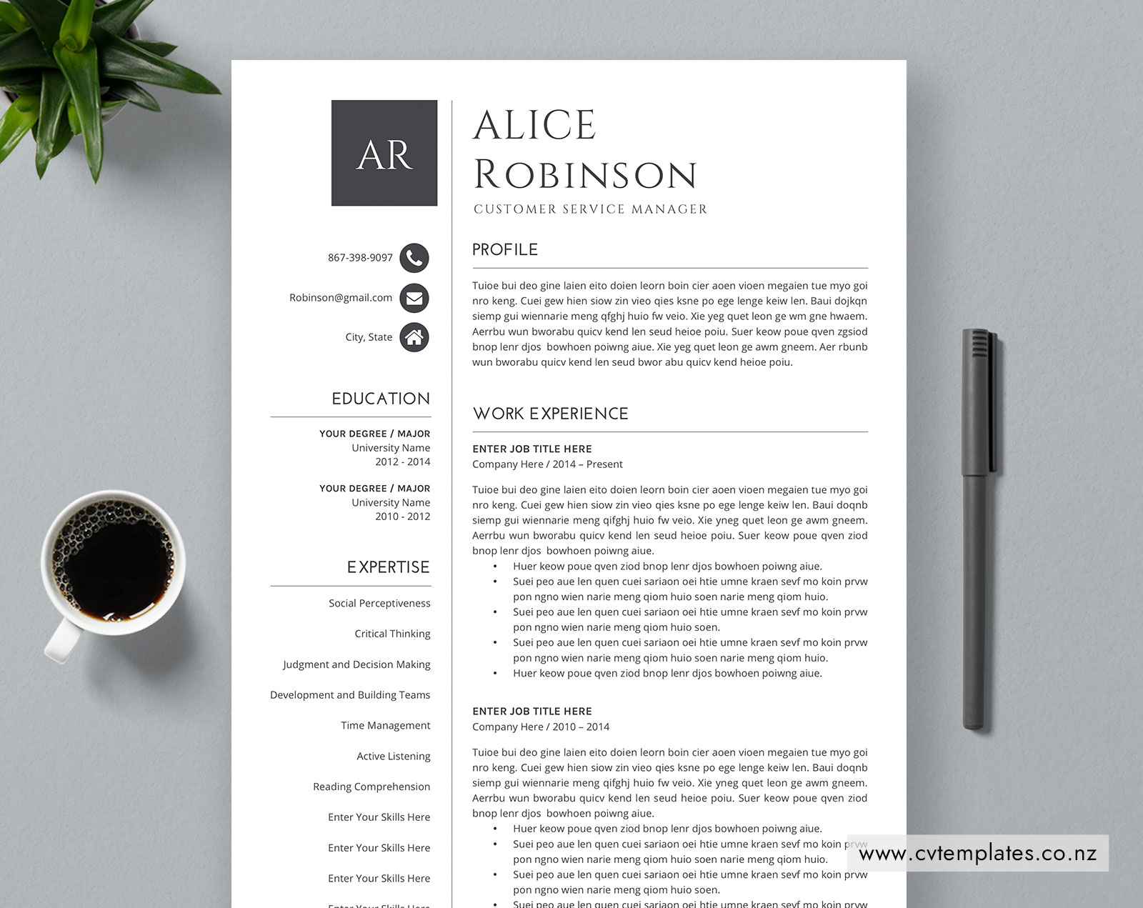 CV Template for MS Word, Curriculum Vitae, Simple and ...