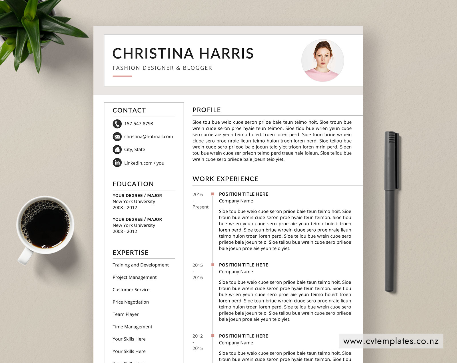 CV Template for MS Word, Curriculum Vitae Template, Modern CV Template  Design, Cover Letter, 1, 2 and 3 Page Resume, Creative Resume, Editable  Resume ...