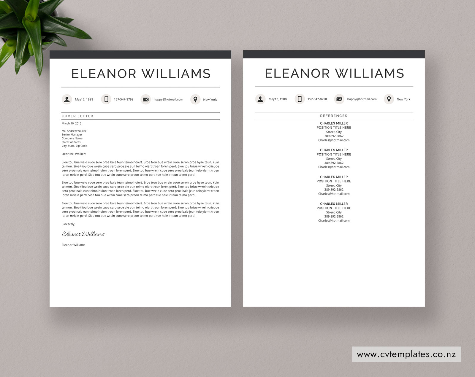 Cv Template For Ms Word Curriculum Vitae Simple Cv Template Cover Letter References 1 2 And 3 Page Resume Creative Resume Editable Resume Modern Resume Instant Download Cvtemplates Co Nz