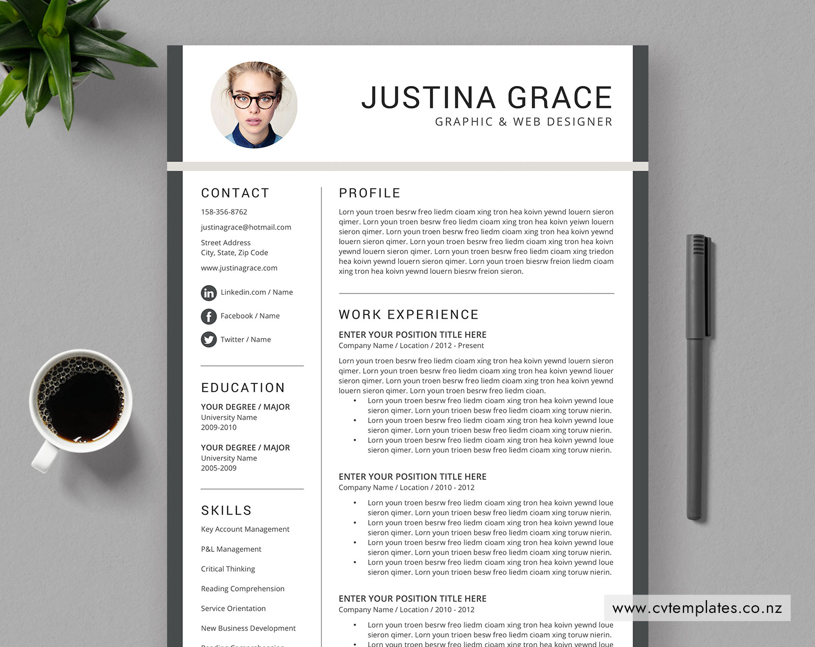 Editable Modern Cv Template For New Zealand Jobs Curriculum Vitae