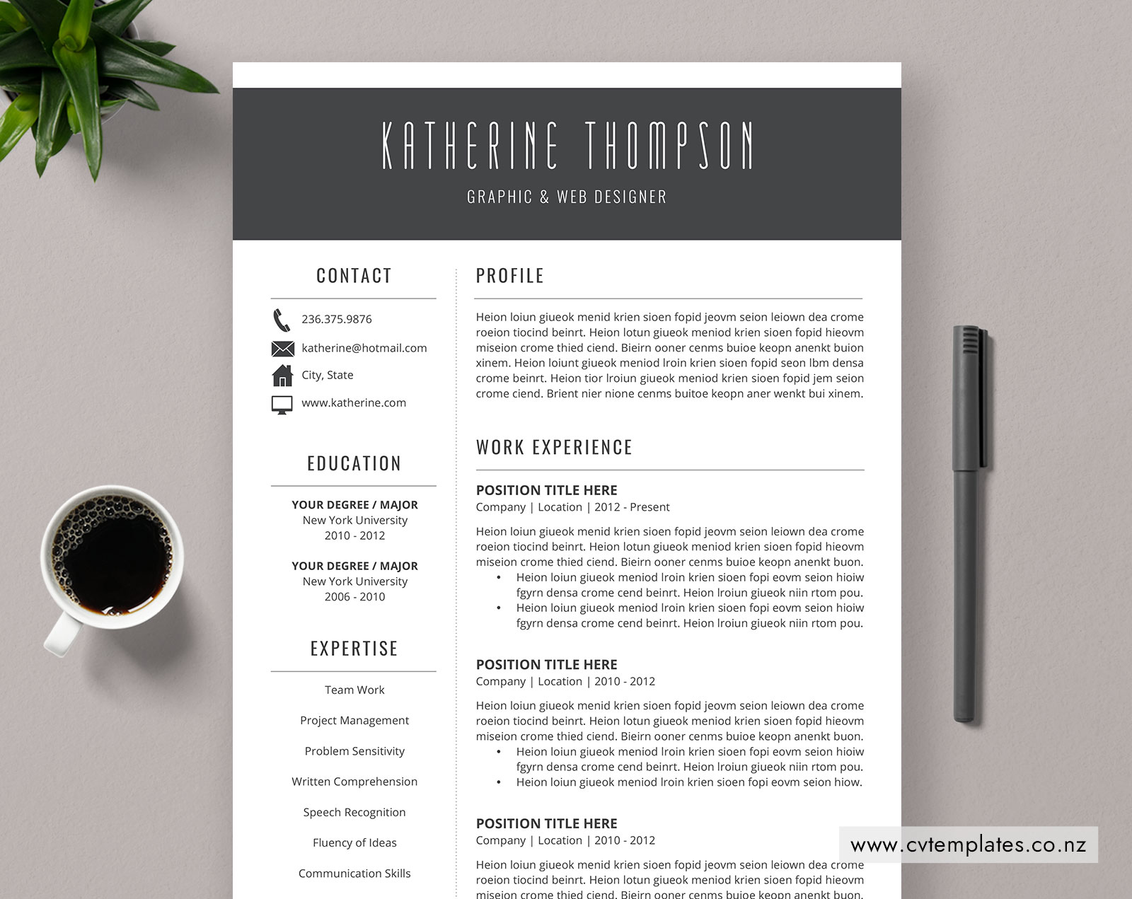CV Template for MS Word, Professional Curriculum Vitae ...