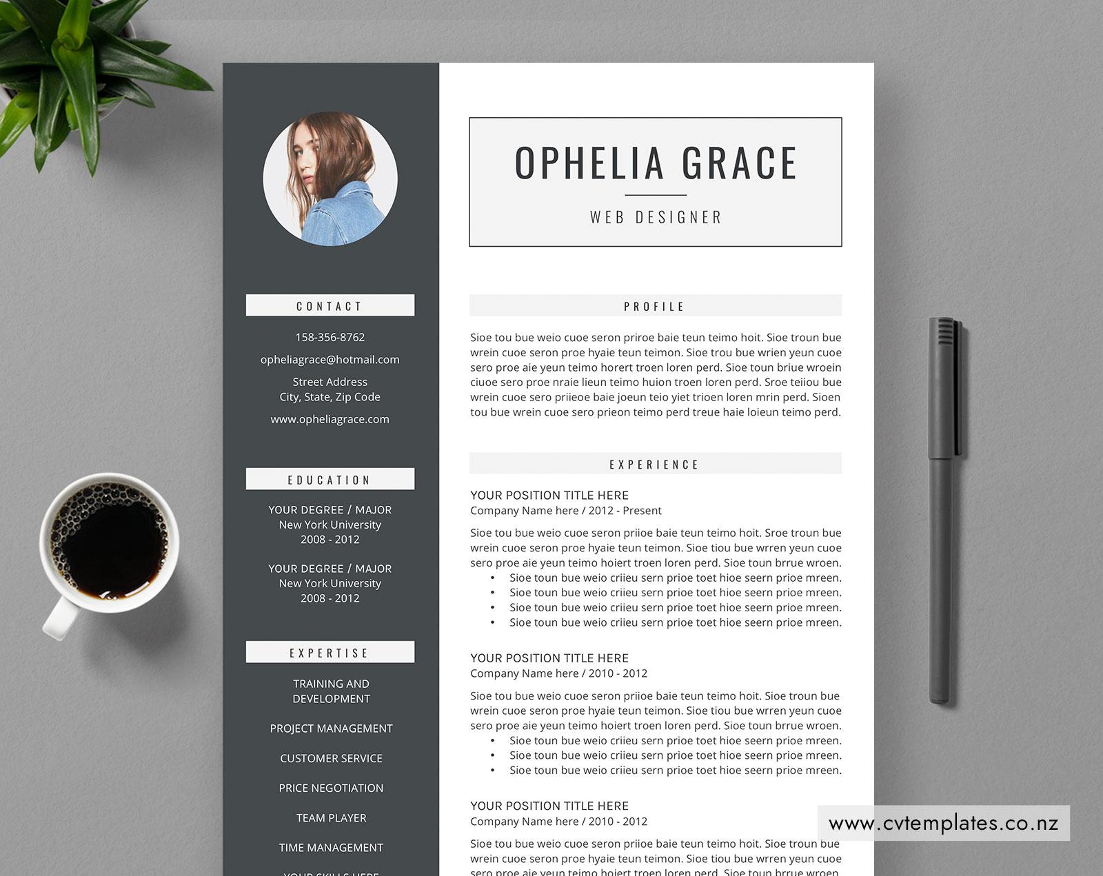 CV Template for MS Word, Curriculum Vitae, Editable CV ...