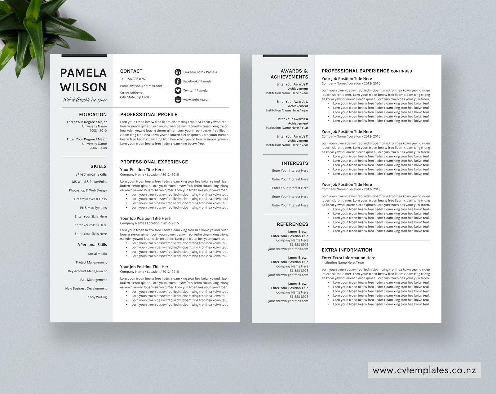 Cv Template For Ms Word Curriculum Vitae Professional Cv Template Cover Letter Editable Resume Format Modern Resume Teacher Resume 1 2 And 3