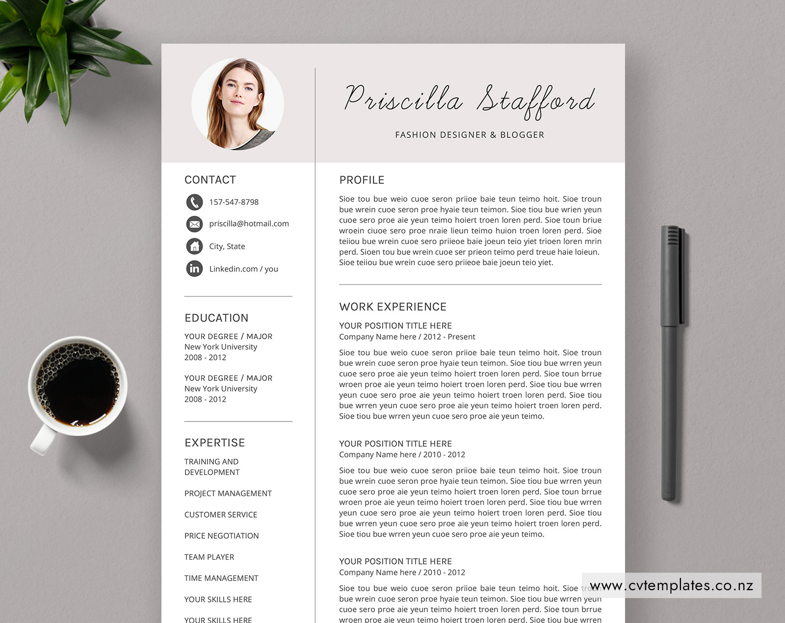 Cv Template For Ms Word Curriculum Vitae Simple Cv Template Design Cover Letter 1 2 And 3 Page Resume Fashion Resume Template Modern Resume Template Instant Download Cvtemplates Co Nz