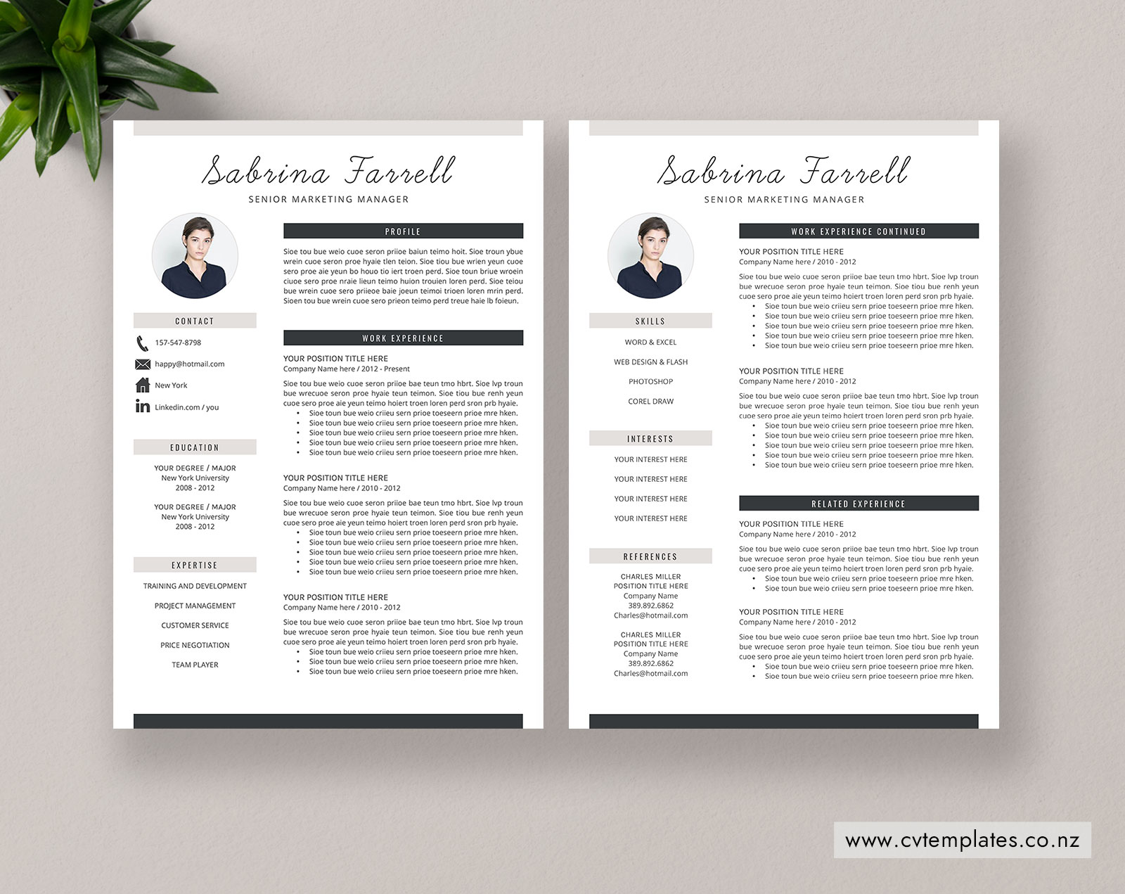 CV Template for MS Word, Curriculum Vitae, Modern & Creative CV Template  Design, Cover Letter, Minimalist Resume Template, 1, 2 and 3 Page Resume,  ...