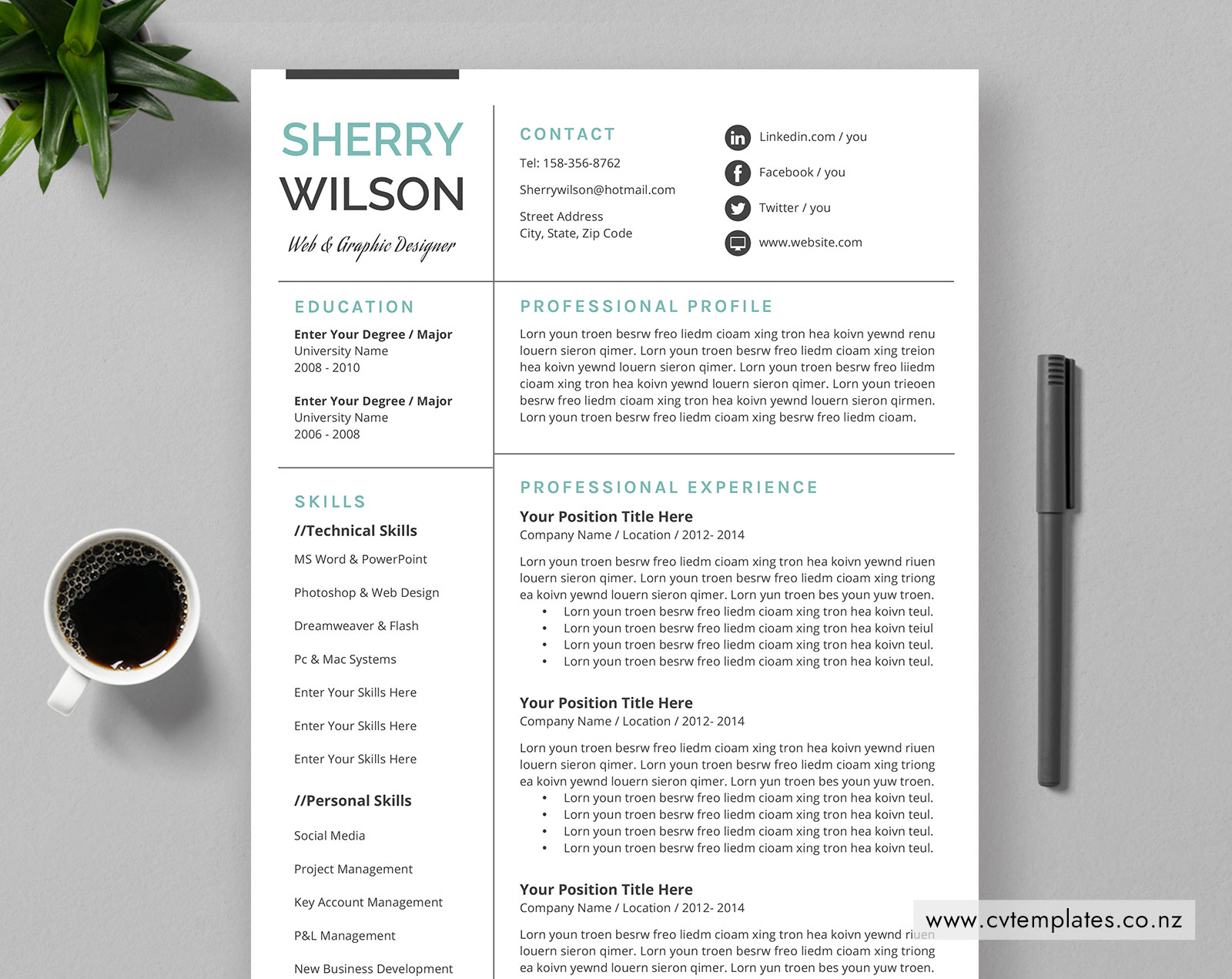Teacher Cv Template For Ms Word Curriculum Vitae Editable Cv
