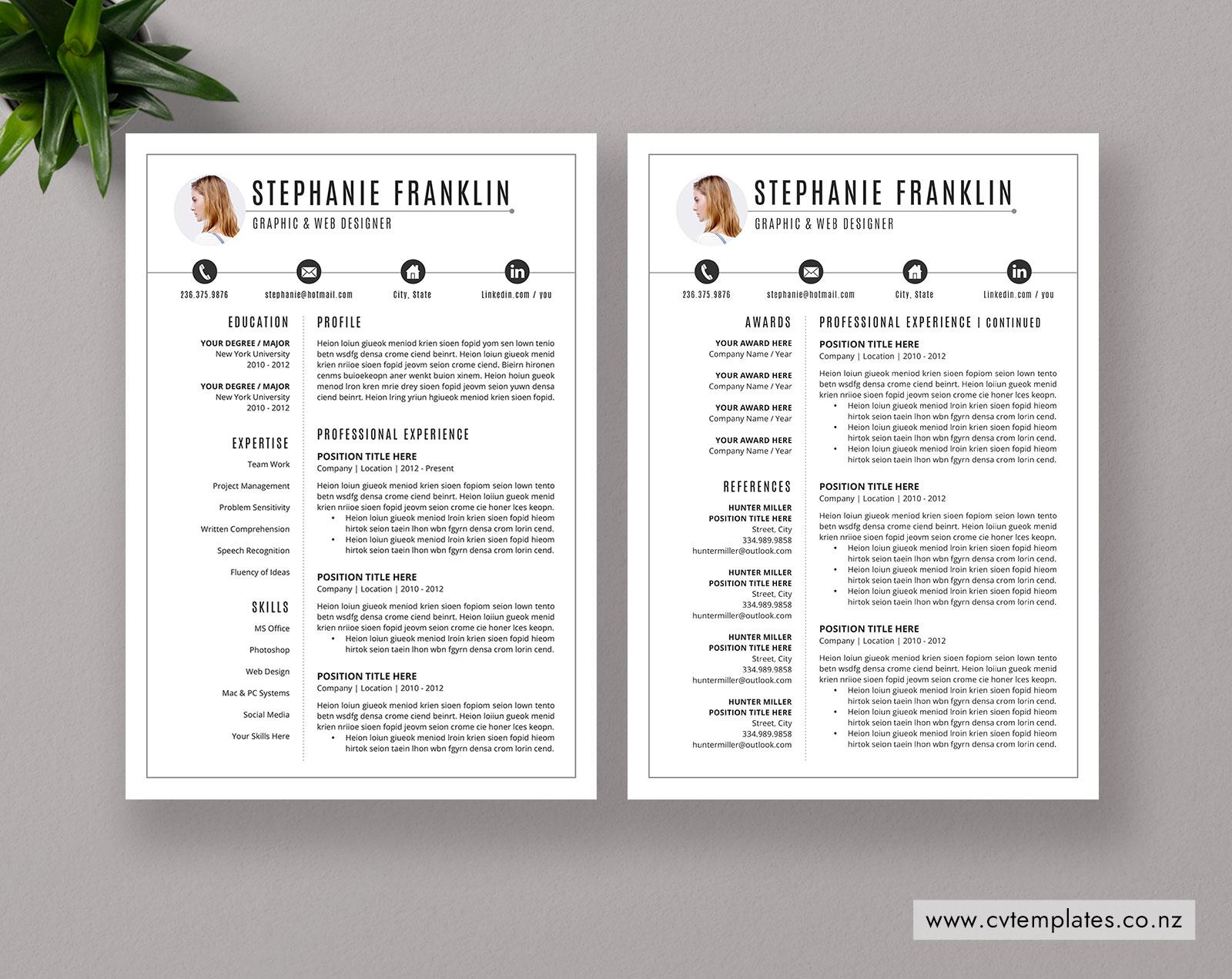 New Zealand Modern CV Template, Job-Winning Resume Template ...