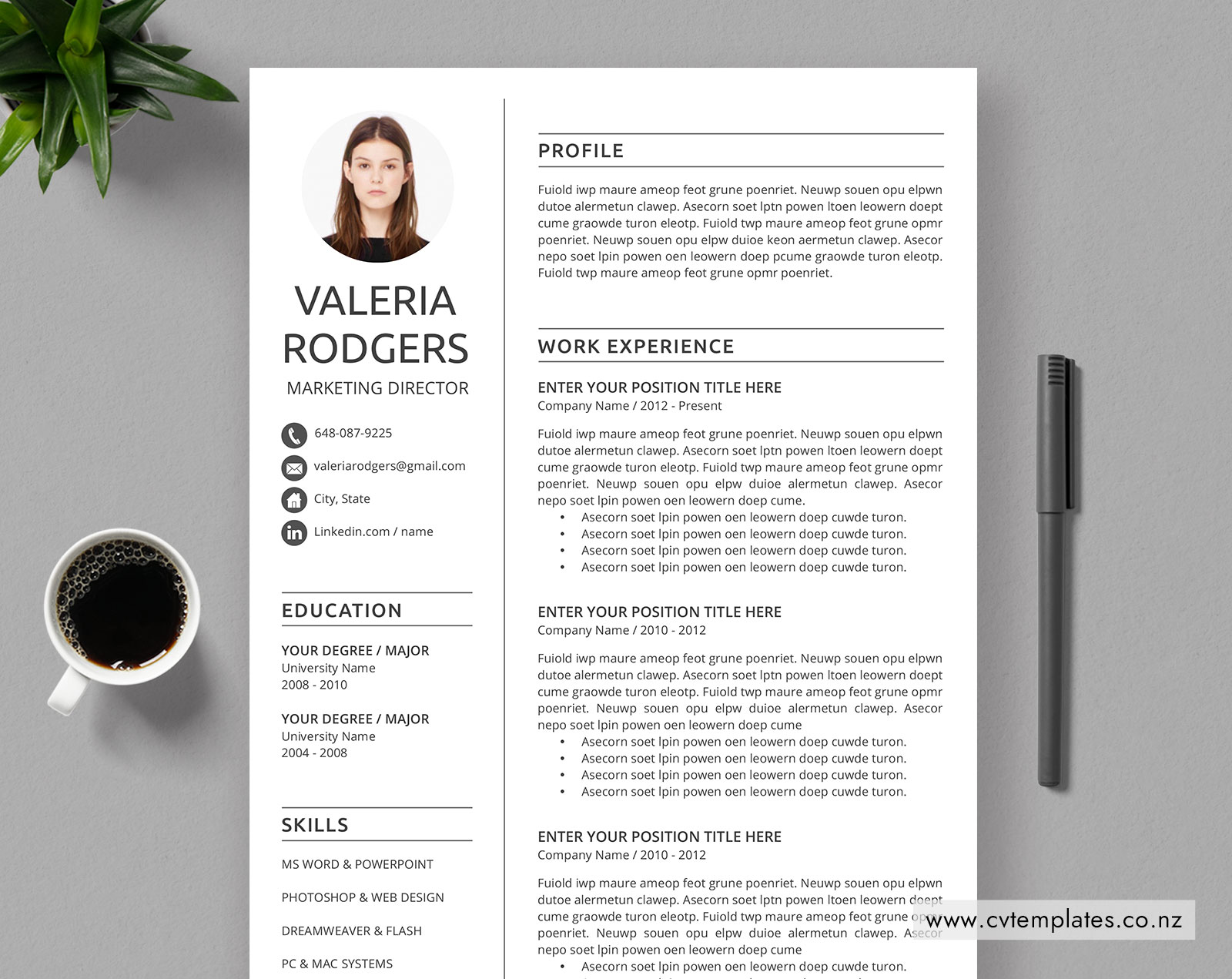 Cv Templates Bundle For Ms Word Curriculum Vitae Cover Letter