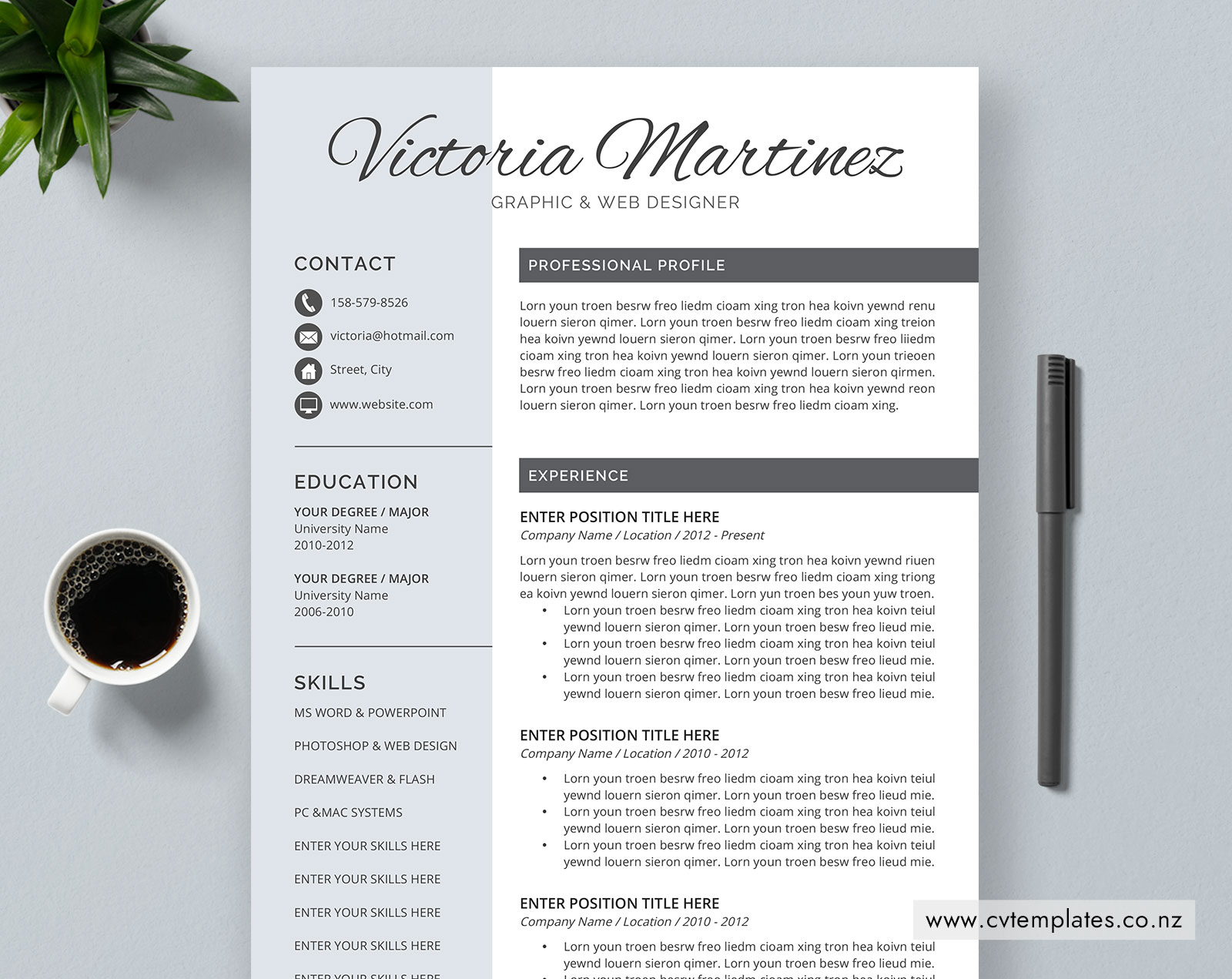 Cv Template For Ms Word Editable Curriculum Vitae Student